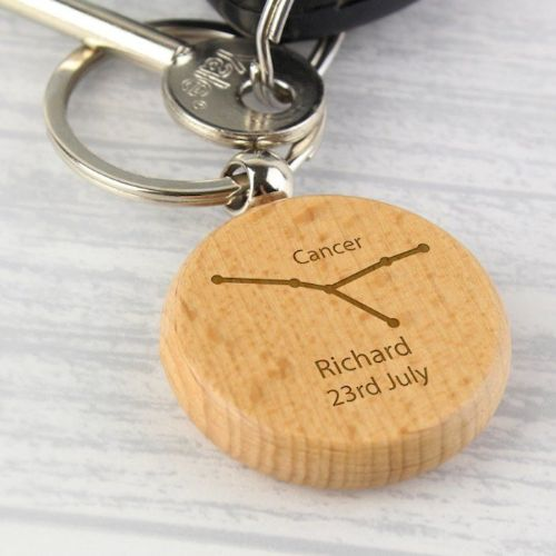 Cancer Zodiac Star Sign Wooden Keyring (June 21st - July 22nd)
